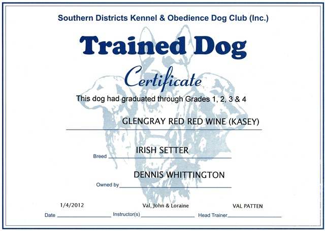 Obedience irish setters australia for Dog certificate template