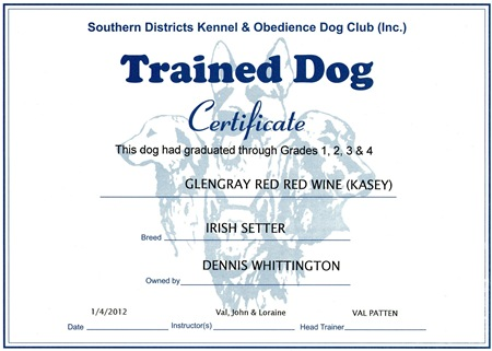 Trained Dog Certificate