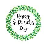 happy Saint Patricks Day in shamrock wreath vector graphic
